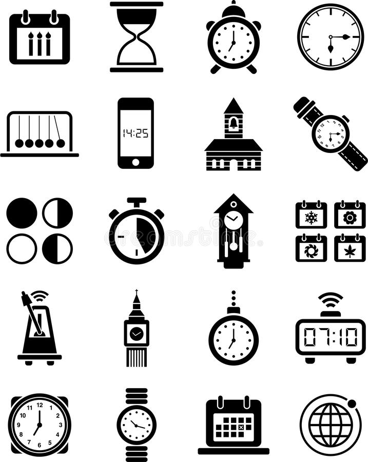 Clocks and time icons. This is a collection of clocks and time icons royalty free illustration