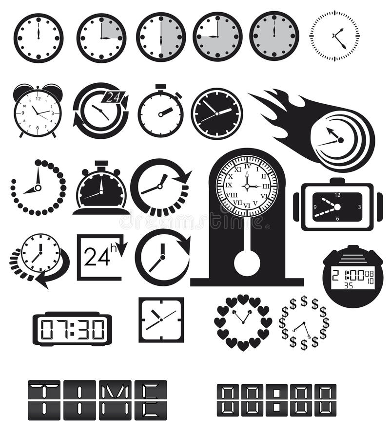Clocks, time icons set. Vector EPS8 vector illustration