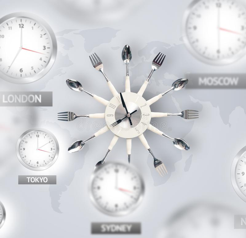 Clocks and time zones over the world concept royalty free stock image
