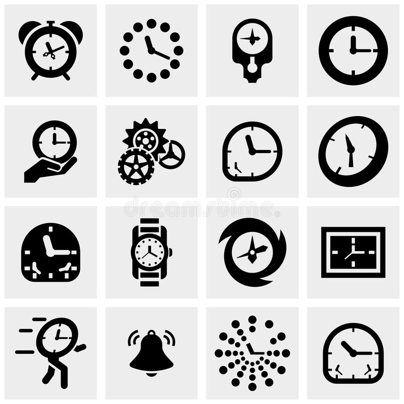 Clocks vector icons set on gray. Clocks icons set on grey background.EPS file available royalty free illustration