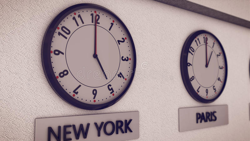 Clocks on wall, symbol for Greenwich Mean Time. 3d rendering of Clocks on wall New York and Paris, symbol for Greenwich Mean Time stock illustration