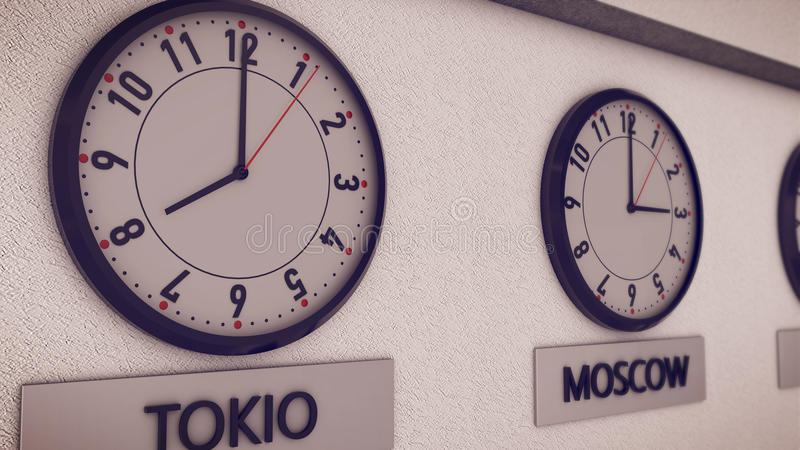 Clocks on wall, symbol for Greenwich Mean Time. 3d rendering of Clocks on wall Tokio, Moscow symbol for Greenwich Mean Time royalty free illustration