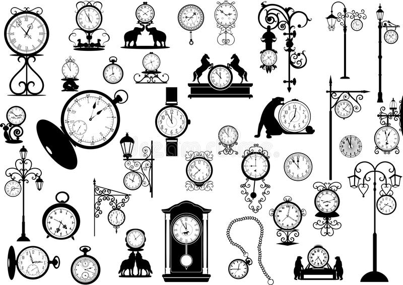 Clocks and watches vector illustration