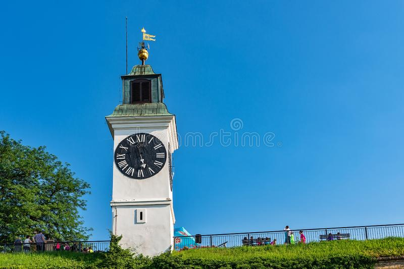 Clocktower του φρουρίου Petrovaradin στο Νόβι Σαντ, Σερβία στοκ εικόνα