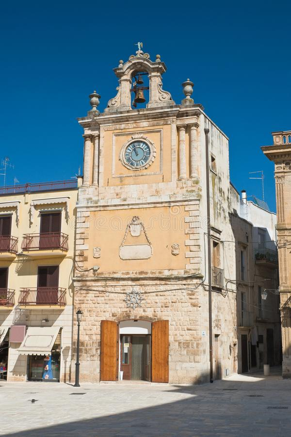 Clocktower. Acquaviva delle fonti. Puglia. Italy. Clocktower of Acquaviva delle fonti. Puglia. Italy stock photography