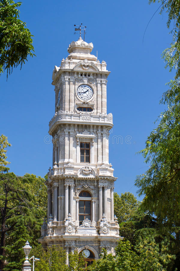 Clocktower of Dolmabahce Palace royalty free stock photo