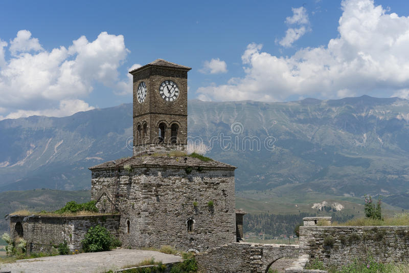 Clocktower in Gjirokastra-Schloss stockbild