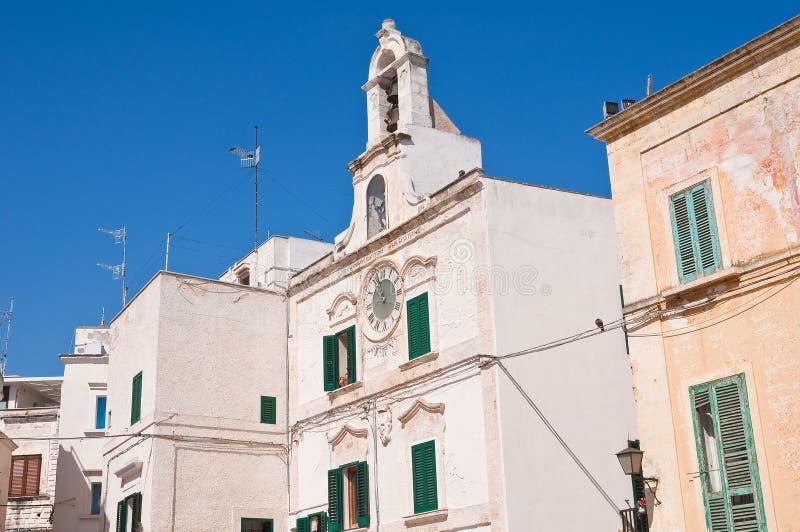 Clocktower Polignano en sto Puglia italy royaltyfria foton