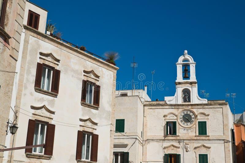 Clocktower Polignano en sto Puglia italy royaltyfri foto
