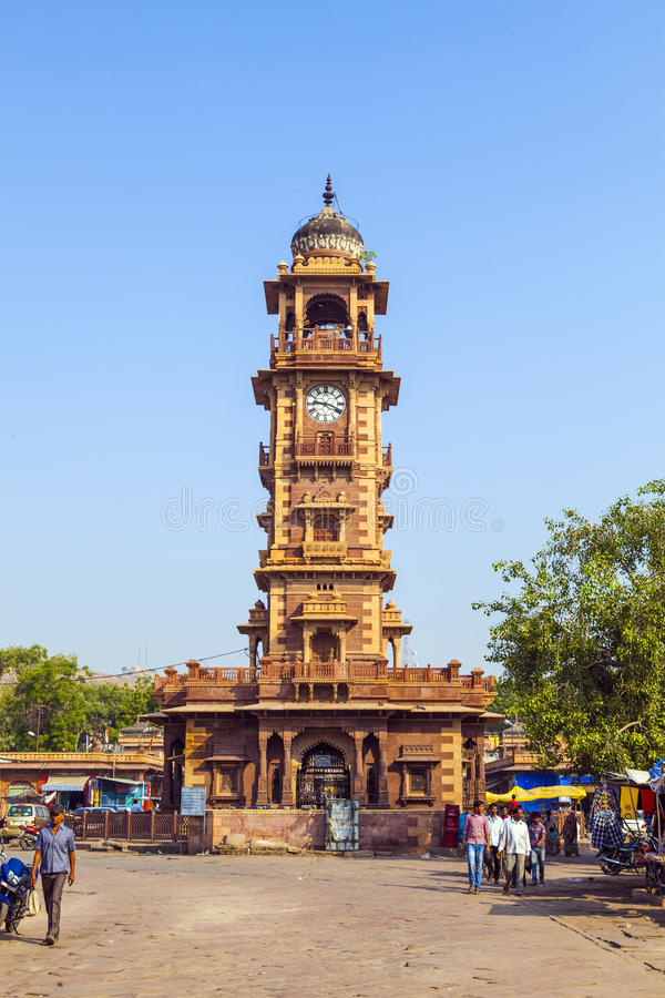 Clocktower at the Sadar Market in Jodhpur, Rajasthan, India stock images