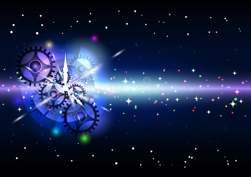Clockwork в ярких световых эффектах иллюстрация вектора