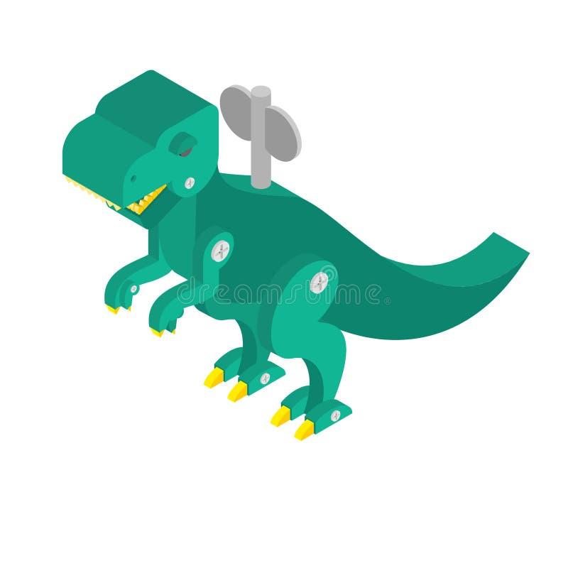 Clockwork игрушки динозавра Винтажный тиранозавр и ключ T-re Dino бесплатная иллюстрация