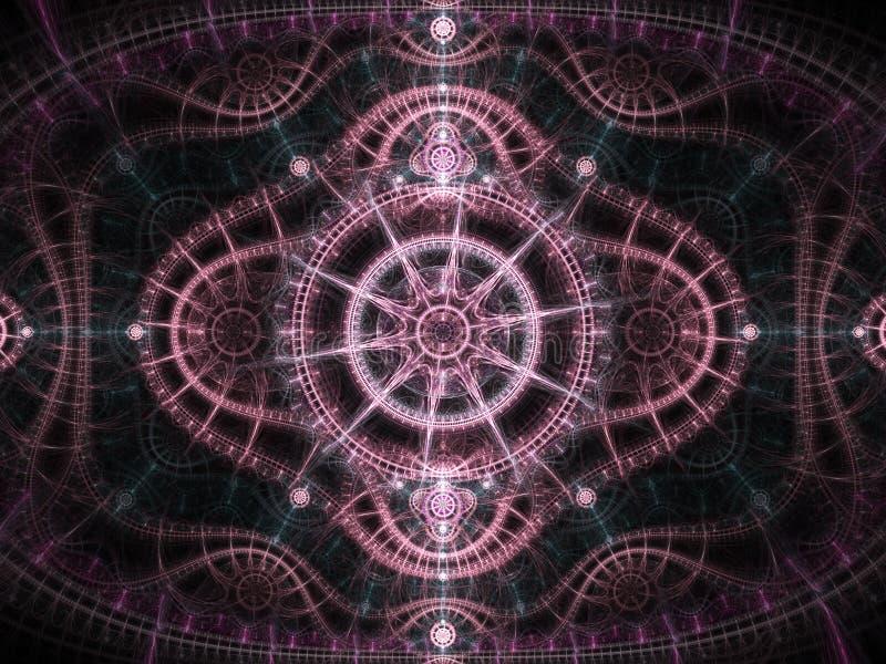 Clockwork фрактали звезды тематический розовый бесплатная иллюстрация