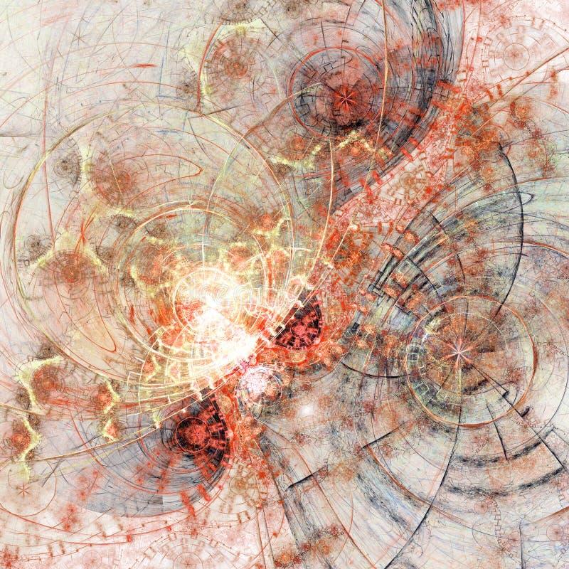 Clockwork фрактали огня тематический иллюстрация вектора