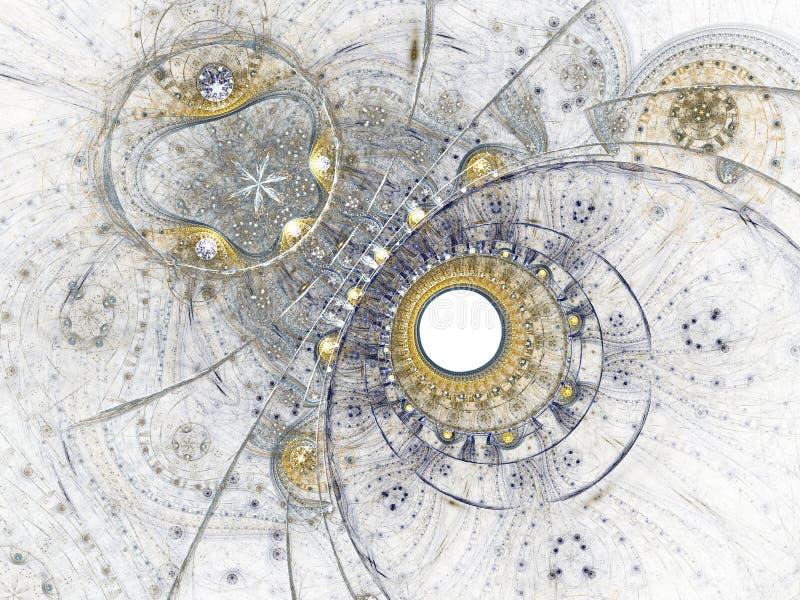 Clockwork фрактали сини и золота иллюстрация штока
