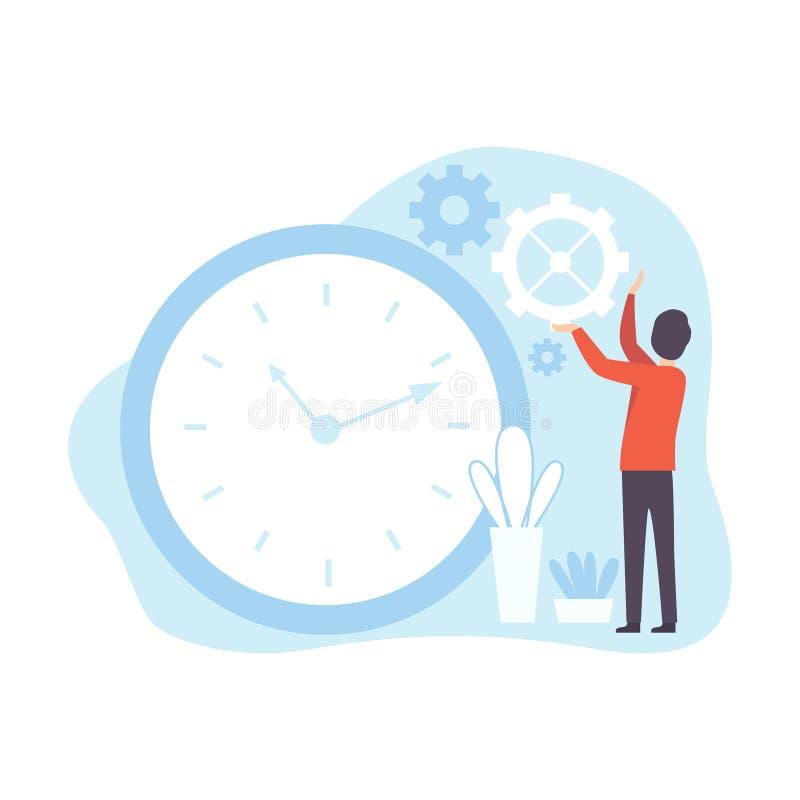 Clockwork человека регулируя, планирование бизнесмена, контролируя рабочее временя, концепция дела вектора контроля времени иллюстрация штока