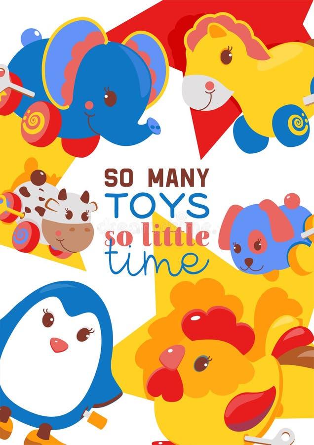 Clockwork bright mechanic children tin toys poster, banner vector illustration. Mechanical windup cute gifts. Animals stock illustration