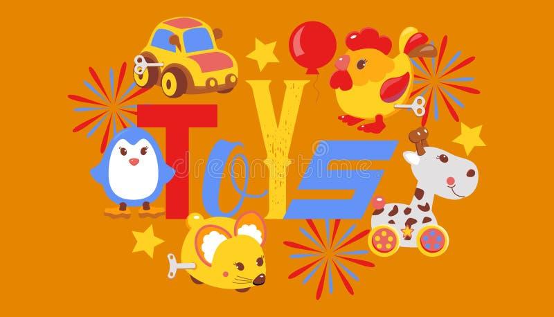 Clockwork bright mechanic children toys shop banner, brochure vector illustration. Mechanical windup cute gifts. Animals vector illustration