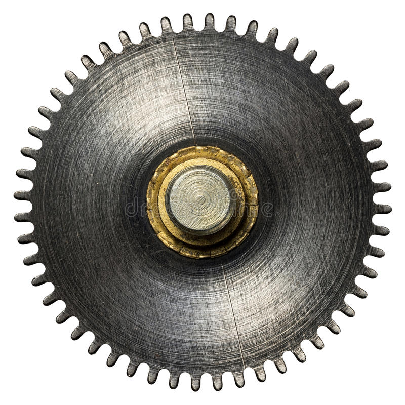 Clockwork. Gear, metal cogwheel. Isolated on white royalty free stock photography
