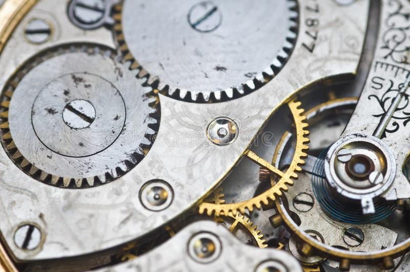 Clockwork, gears in an old watch. Teamwork concept, idea, technology, eternity, business. Macro. Clockwork, gears in an old watch. Teamwork concept idea royalty free stock images