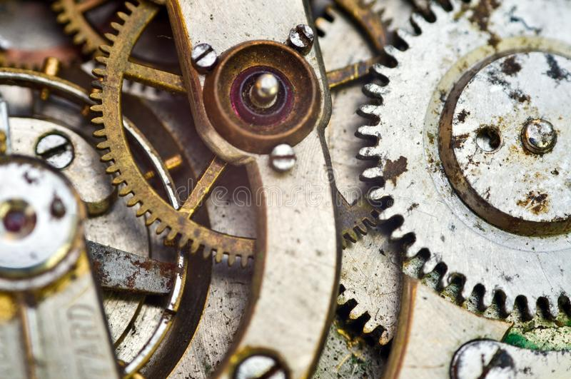 Clockwork, gears in an old watch. Teamwork concept, idea, technology, eternity, business. Macro. Clockwork, gears in an old watch. Teamwork concept idea stock photos