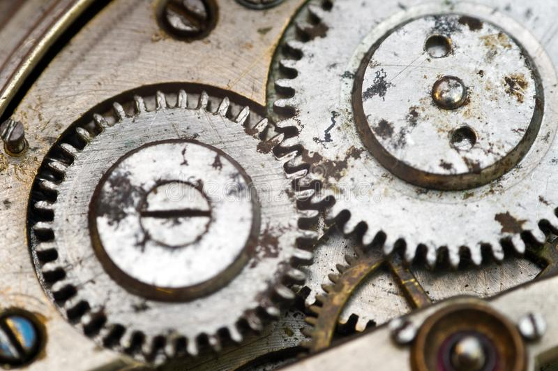 Clockwork, gears in an old watch. Teamwork concept, idea, technology, eternity, business. Macro. Clockwork, gears in an old watch. Teamwork concept idea stock image
