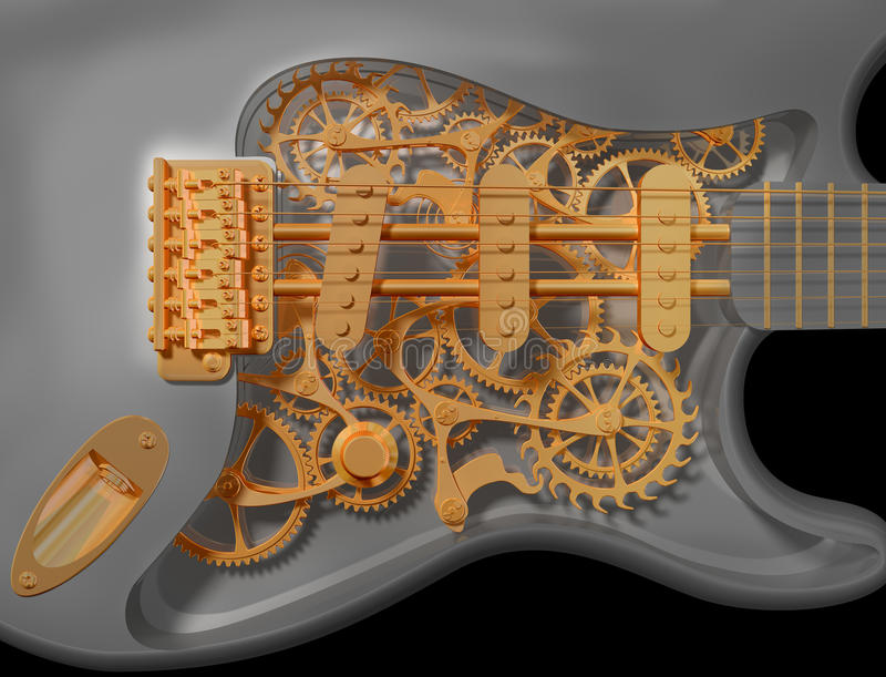 Clockwork guitar royalty free stock photo