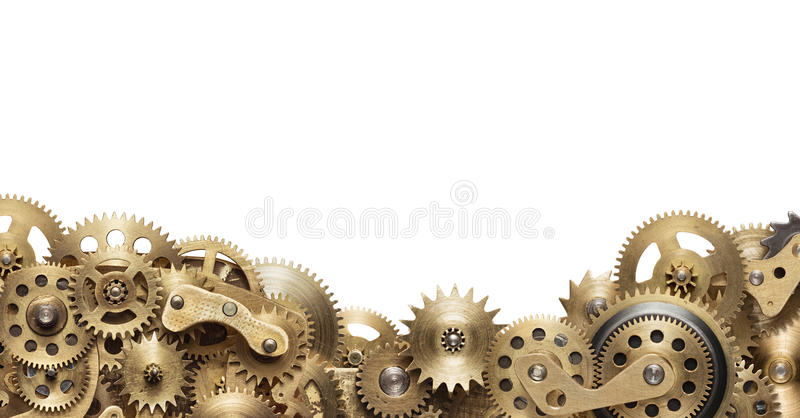 Clockwork. Mechanical collage made of clockwork gears on white background stock photography