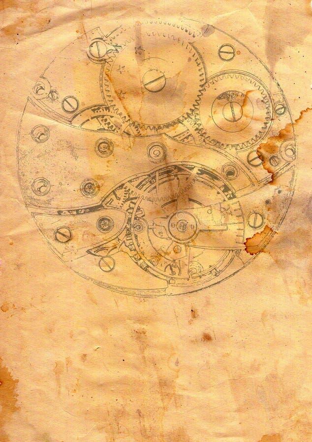 Clockwork mechanism on grunge paper. Image of the clockwork mechanism on grunge paper royalty free illustration