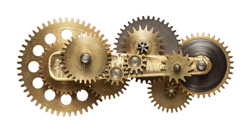 Clockwork. Metal collage of clockwork gears isolated on white background royalty free stock image