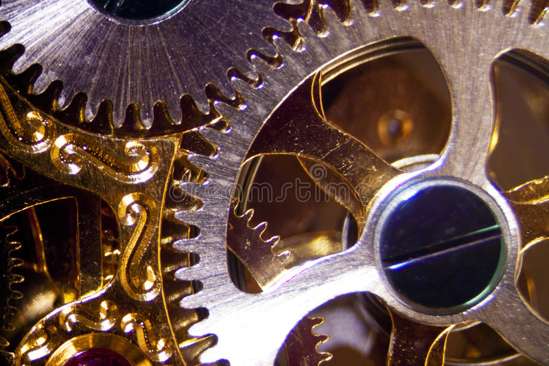 Clockwork. Micro photo of a clockwork stock image