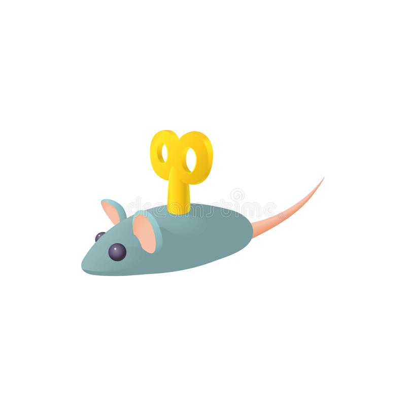 Clockwork mouse icon in cartoon style. On a white background stock illustration