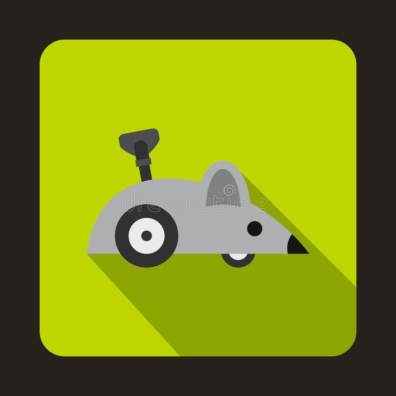 Clockwork mouse icon, flat style. Clockwork mouse icon in flat style on a green background stock illustration