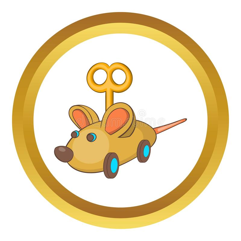 Clockwork mouse icon. In golden circle, cartoon style isolated on white background vector illustration