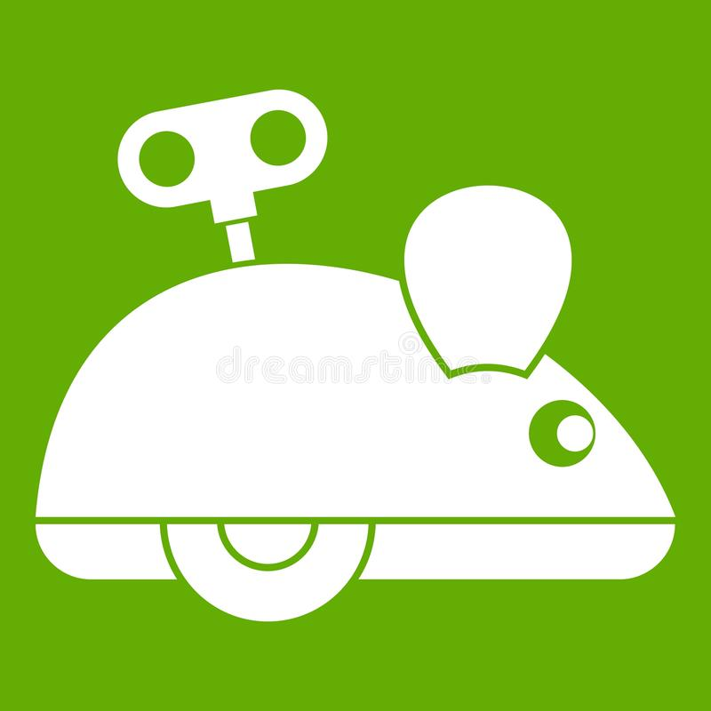 Clockwork mouse icon green. Clockwork mouse icon white isolated on green background. Vector illustration royalty free illustration