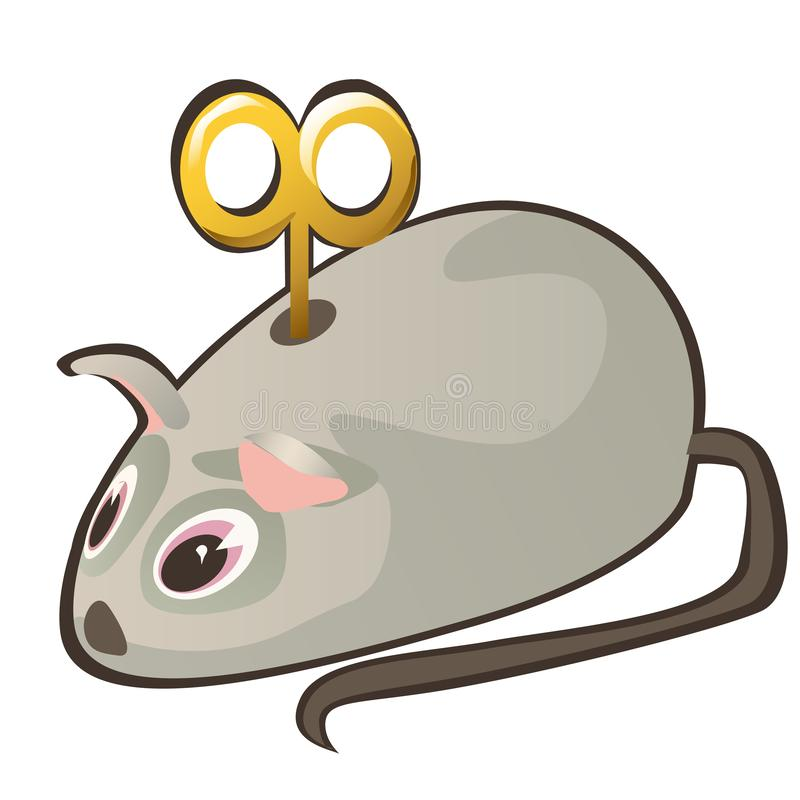 Clockwork mouse with key isolated on white background. Vector cartoon close-up illustration. vector illustration