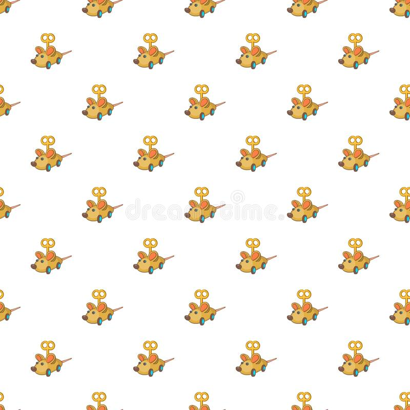 Clockwork mouse pattern, cartoon style. Clockwork mouse pattern. Cartoon illustration of clockwork mouse vector pattern for web royalty free illustration