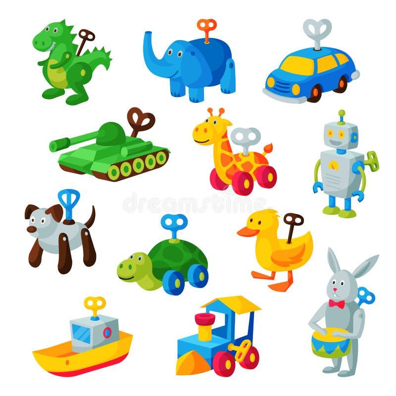 Clockwork toy key vector mechanic playroom toyshop mechanism for kids animal clock work car, train, robot illustration stock illustration