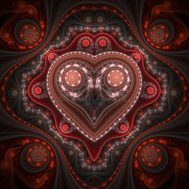 Clockwork valentine ` s dnia motyw, fractal serce zdjęcia royalty free