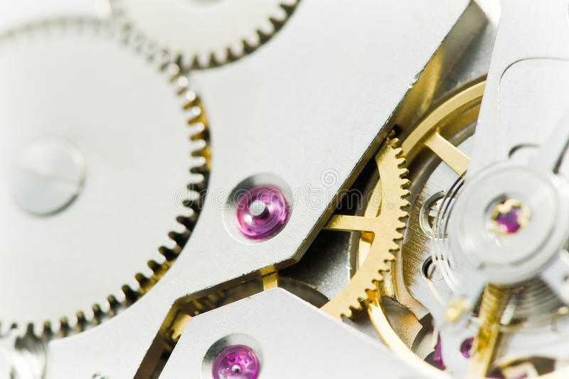 Clockworks with gears stock image