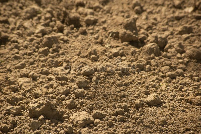 Clods of dry ground is close. Background with clods of dry ground is close, soil, brown, surface, natural, field, closeup, garden, agriculture, nature, nobody royalty free stock image