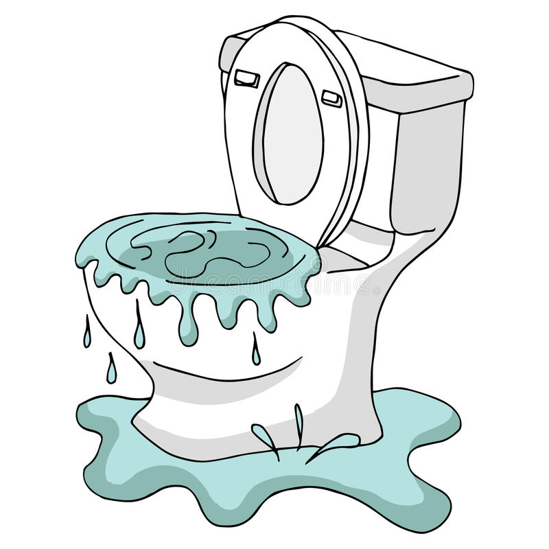 Clogged Toilet stock vector. Illustration of overflowed - 81738286