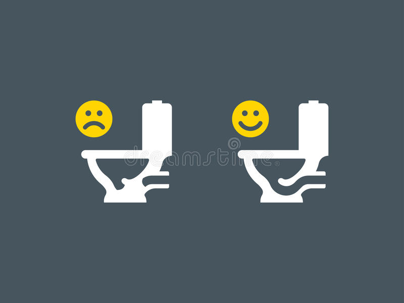 Clogged and unclogged toilet symbol vector illustration