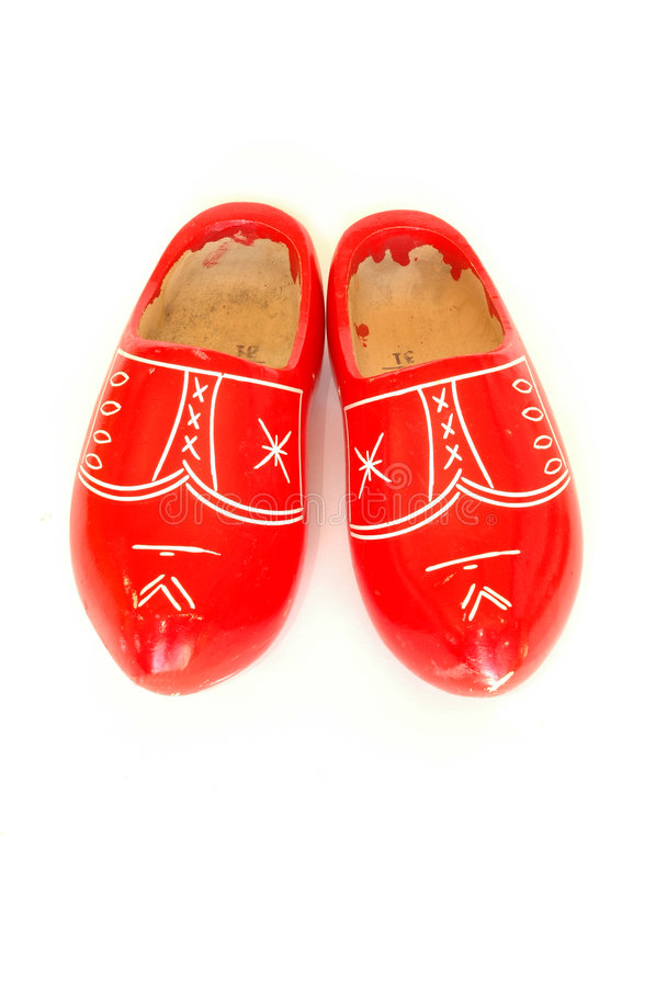 Clogs Old Red 库存照片