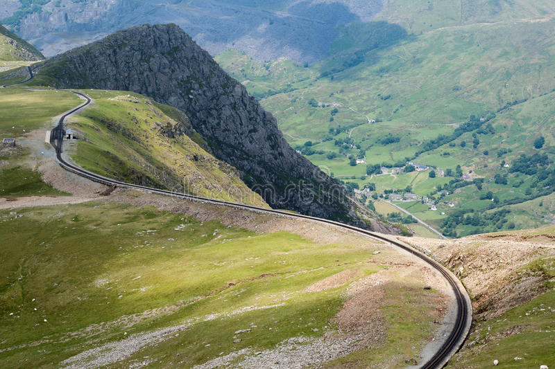 Clogwyn Station on Mount Snowdon from Llanberis path. Clogwyn Station on the Snowdon Mountain Railway from Llanberis path with Nant Peris in the valley in stock images