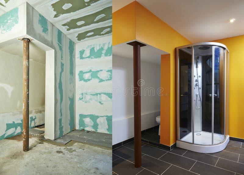 Cloison sèche-plaque de plâtre et salle de bains photos libres de droits