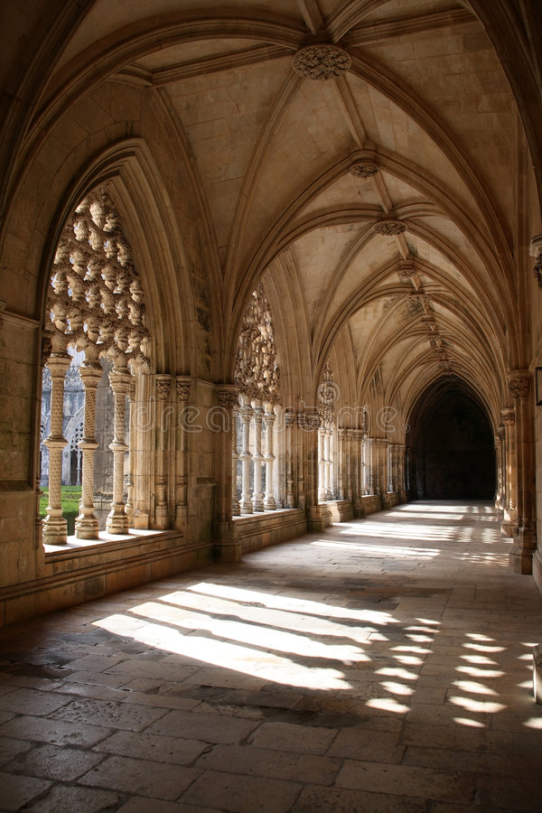 Cloister. Of the old monastery royalty free stock photo