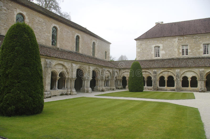 Cloister of the Abbey of Fontenay royalty free stock photo