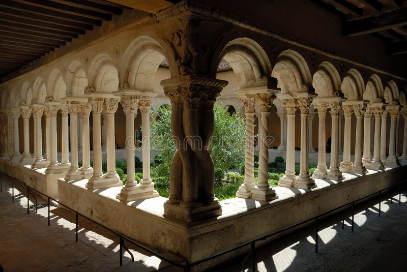 Cloister in Aix-en-Provence, France stock photo