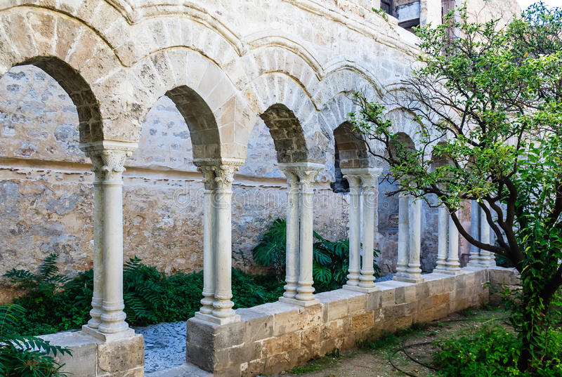 The cloister of the arab-norman church 'San Giovanni degli Eremiti' in Palermo. Sicily. Italy royalty free stock photos
